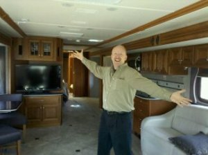 David sharing the inside of the proposed tour bus